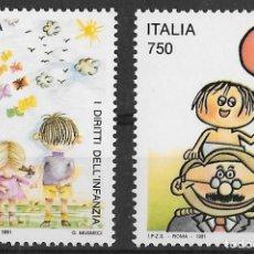 Sellos: A FACIAL. ITALIA 1991. DERECHOS DEL NIÑO. YT 1918-19 NUEVO (MNH). Lote 133400918