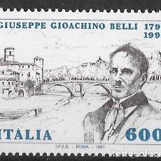 Sellos: ITALIA 1991. BICENTENARIO NACIMIENTO POETA G. G. BELLI. YT 1910 NUEVO (MNH). Lote 133469810