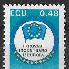 Sellos: ITALIA 1991. ENCUENTRO CON EUROPA. ECU. YT 1907 NUEVO (MNH). Lote 133470918