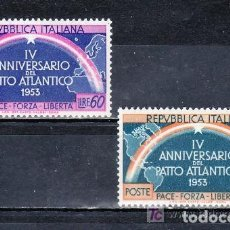 Sellos: ITALIA 1953 IVERT 660/1 * 4º ANIVERSARIO DE LA FIRMA DEL PACTO ATLANTICO. Lote 139090970