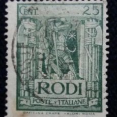 Sellos: SELLO.POSTE ITALIANE. RHODES JANNADI 25 CENT. 1935. USADO.. Lote 144653694