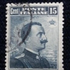 Sellos: SELLO.POSTE ITALIANE. REY VICTOR EMMANUEL LLL.15 CENT. 1909. USADO.. Lote 144663602