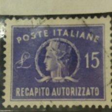 Sellos: SELLO POSTE ITALIANO.15 LIRE RECAPITO AUTORIZZATO. 1949. NUEVO.. Lote 144786746