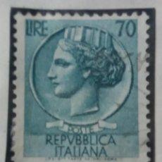 Sellos: SELLO POSTE ITALIANO. LIRE 70, SPEZZATURE SINGOLO PEZZO, ANO 1955. USADO . Lote 144790494