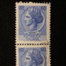 Sellos: SELLO POSTE ITALIANE, SIRACUSA 60 LIRE, AÑO 1954 USADO. Lote 145198466