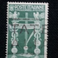 Sellos: SELLO POSTE ITALIANE, BIMILLENARIO AUGUSTA, 25 CENT,, AÑO 1938 USADO. Lote 145200502