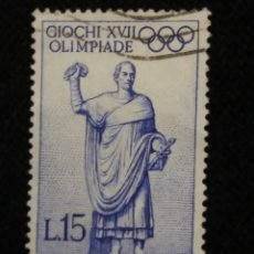 Sellos: SELLO POSTE ITALIANE, 50 GIOCHI XVII.OLIMPIADE 15 LIRE , AÑO 1960 USADO. Lote 145201218