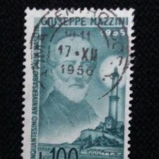 Sellos: SELLO POSTE AEREA ITALIANO, GIUSEPPE MAZZINI 100 LIRE, 1955 USADO. Lote 145281506