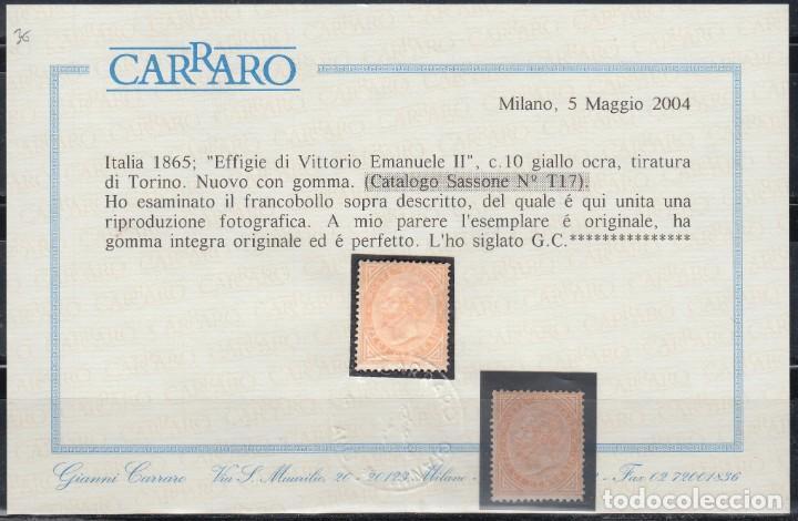 ITALIA, 1863-77 YVERT Nº 15 /*/, CERTIFICADO CARRARO. (Sellos - Extranjero - Europa - Italia)