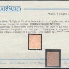 Sellos: ITALIA, 1863-77 YVERT Nº 15 /*/, CERTIFICADO CARRARO. . Lote 146429114