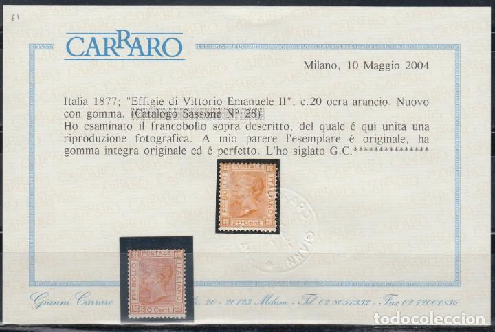 ITALIA, 1867-77 YVERT Nº 24 /*/, CERTIFICADO CARRARO. (Sellos - Extranjero - Europa - Italia)