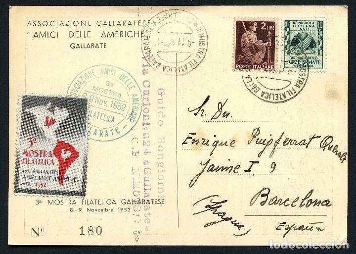 ITALIA, VIÑETA, POSTAL, 3º MOSTRA FILATELICA GALLARATESE, 1952, CARTOLINA, ITALY (Sellos - Extranjero - Europa - Italia)