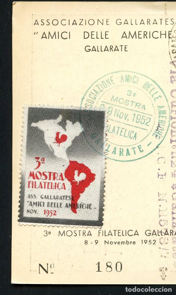 Sellos: ITALIA, VIÑETA, POSTAL, 3º MOSTRA FILATELICA GALLARATESE, 1952, CARTOLINA, ITALY - Foto 2 - 146681462