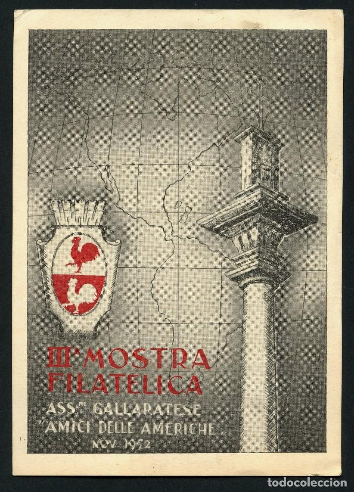 Sellos: ITALIA, VIÑETA, POSTAL, 3º MOSTRA FILATELICA GALLARATESE, 1952, CARTOLINA, ITALY - Foto 3 - 146681462