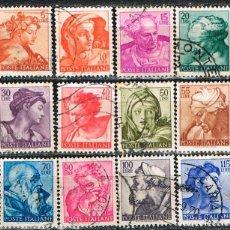 Sellos: ITALIA, MIGUEL ANGEL, CAPILLA SIXTINA, 12 SELLOS USADOS. Lote 147764470