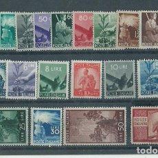 Sellos: ITALIA - CORREO 1945 YVERT 481/503 ** MNH. Lote 152708937