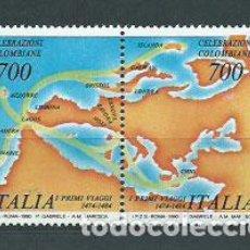 Timbres: ITALIA - CORREO 1990 YVERT 1835/6 ** MNH VIAJE CRISTOBAL COLON. Lote 152714920