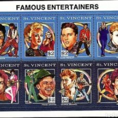 Sellos: SAN VICENTE:HB. CANTANTES FAMOSOS, ELVIS, JACKSON, BOWIE, PRINCE, JAGGER... MNH. Lote 153618137