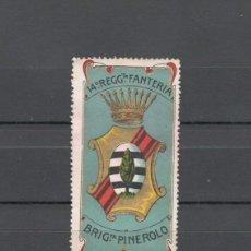 Sellos: VIÑETA MILITAR. PRIMERA GUERRA MUNDIAL: 14º REGIMIENTO INFANTERIA, BRIGADA PINEROLO - ITALIA. Lote 155809638