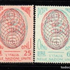 Sellos: ITALIA 734/35** - AÑO 1956 - ADMISION DE ITALIA EN NACIONES UNIDAS. Lote 295529473