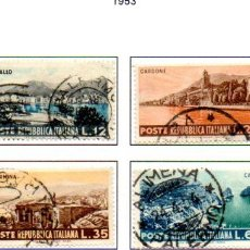 Sellos: ITALIA. AÑO 1953.- PAISAJES ITALIANOS, SERIE COMPLETA, EN USADO. Lote 159824326