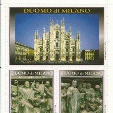 Sellos: DUOMO DI MILANO. LOMBARDI, CASTIGLIONI, MINERBI Y MINGUZZI. 5 SELLOS EN HOJA. 2008. 17X9 CM.. Lote 164915906