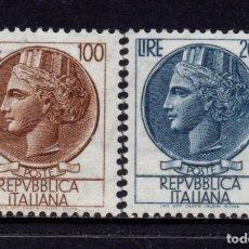Sellos: ITALIA 802/03* - AÑO 1959 - MONEDA DE SIRACUSA. Lote 171512485