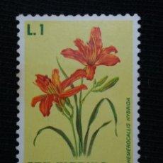 Sellos: SAN MARINO, 1 LIRES, FLORES , AÑO 1970. NUEVO. Lote 171708598