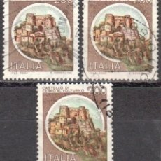 Sellos: ITALIA - TRES SELLOS - IVERT:#IT-1445 - ***C A S T I L L O S*** - AÑO 1980 - USADOS. Lote 176430413