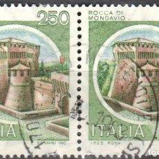 Sellos: ITALIA - DOS SELLOS - IVERT:#IT-1446 - ***C A S T I L L O S*** - AÑO 1980 - USADOS. Lote 176430579