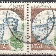 Sellos: ITALIA - DOS SELLOS - IVERT:#IT-1450 - ***C A S T I L L O S*** - AÑO 1980 - USADOS. Lote 176434755