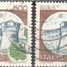 Sellos: ITALIA - DOS SELLOS - IVERT:#IT-1450 - ***C A S T I L L O S*** - AÑO 1980 - USADOS. Lote 176434827
