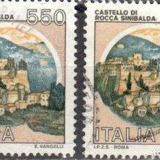 Sellos: ITALIA - DOS SELLOS - IVERT:#IT-1603 - ***C A S T I L L O S*** - AÑO 1984 - USADOS. Lote 176466693