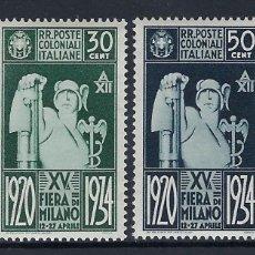 Sellos: ITALIA COLONIAS EMISIONES GENERALES 1926 FERIA DE MILAN Nº 42/45 *. Lote 177564945