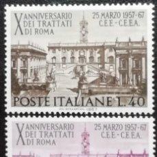 Sellos: 1967. ITALIA. 961 / 962. 10 ANIV. DE LA FIRMA DEL TRATADO DE ROMA SOBRE LA COMUNIDAD EUROPEA. NUEVO.. Lote 182390287