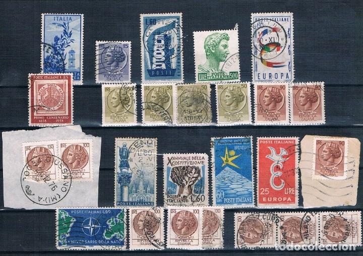 SELLOS USADOS DE ITALIA VARIOS DE 1955 A 1975 TRES FOTOGRAFÍAS BONITOS MATASELLOS (Sellos - Extranjero - Europa - Italia)