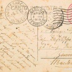 Sellos: ITALIA. SOBRE YV . 1915. TARJETA POSTAL DE GENOVA A MONTESARCHIO. MARCA DE FRANQUICIA OSPEDALE TERR. Lote 183127461