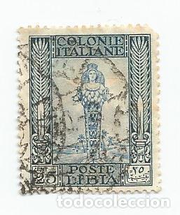 SELLO USADO DE LA ANTIGUA COLONIE ITALIANA POSTE LIBIA DEL AÑO 1921 DE 25 CTS (Sellos - Extranjero - Europa - Italia)