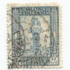 Sellos: SELLO USADO DE LA ANTIGUA COLONIE ITALIANA POSTE LIBIA DEL AÑO 1921 DE 25 CTS. Lote 183849502