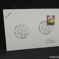 Sellos: TARJETA CON SELLO. VISITA DEL PAPA JUAN PABLO II A LUCERA. 1987.. Lote 188550215