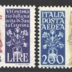 Sellos: ITALIA, AÉREO 1948 YVERT Nº 129 / 130 /**/, SIN FIJASELLOS. Lote 190780491