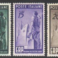 Sellos: ITALIA, 1949 YVERT Nº 539 / 541 /**/, SIN FIJASELLOS. Lote 190780790