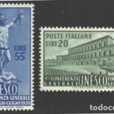 Sellos: ITALIA, 1950 YVERT Nº 556 / 557 /**/, SIN FIJASELLOS. Lote 190781316