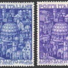 Sellos: ITALIA, 1950 YVERT Nº 558 / 559 /**/, SIN FIJASELLOS. Lote 190781332
