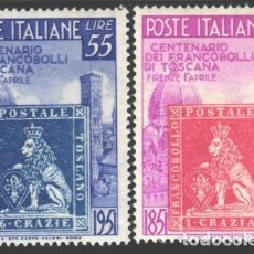 Sellos: ITALIA, 1950 YVERT Nº 558 / 559 /**/, SIN FIJASELLOS. Lote 190781926