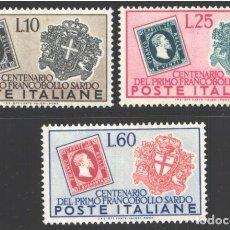 Sellos: ITALIA, 1951 YVERT Nº 610 / 612 /**/, SIN FIJASELLOS. Lote 190782426