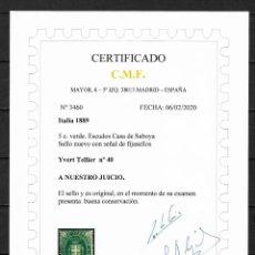 Sellos: ITALIA 1889 IVERT TELLIER Nº 40 * NUEVO CERTIFICADO C.M.F. 1200 $ - 18/29. Lote 193361251