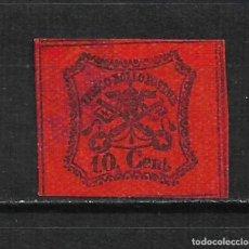 Sellos: ROMAN STATES 1867 SCOTT # 15 A15 10C BLK, VERMILION 92.50 USADO - 2/16. Lote 194957540