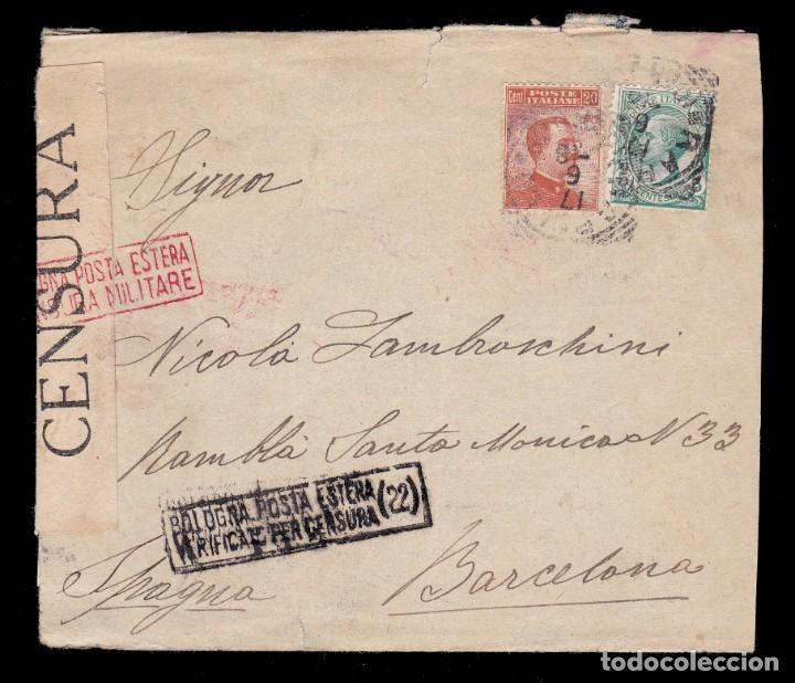 *** CARTA ITALIA-BARCELONA 1938. CENSURA MILITAR BOLOGNA (22) BOLONIA *** (Sellos - Extranjero - Europa - Italia)