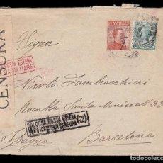 Sellos: *** CARTA ITALIA-BARCELONA 1938. CENSURA MILITAR BOLOGNA (22) BOLONIA ***. Lote 195083892